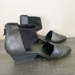 Eileen Fisher black metallic booties sz 8 1/2